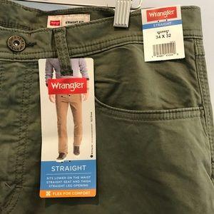 Wrangler men's green denim straight jeans size 34